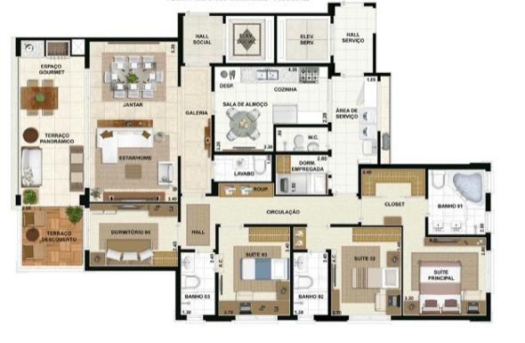 9-plantas de casas com 4 quartos