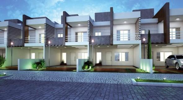 Frente de casas com garagem 014