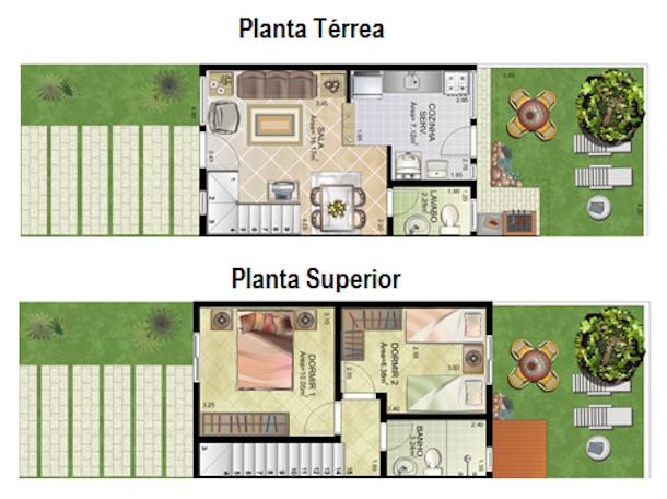 Plantas de casas de meio lote10