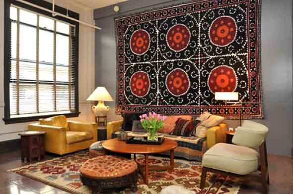 Decoração com tapeçarias nas paredes 010