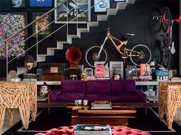 Todo o charme das paredes pretas na decoração 014