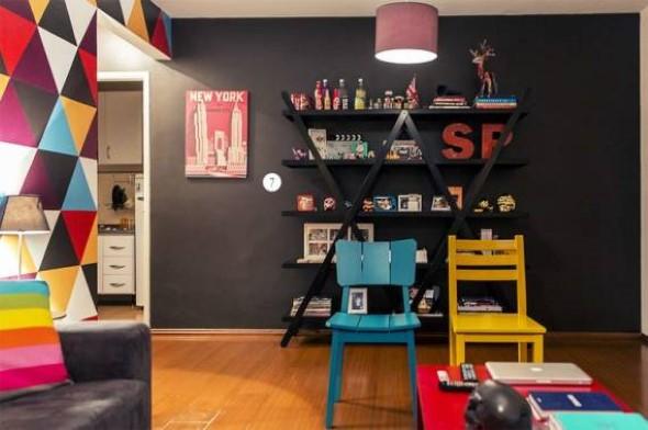 Todo o charme das paredes pretas na decoração 018