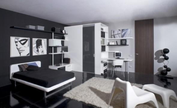 Quarto decorado em preto e branco, mas elegância na decoração.