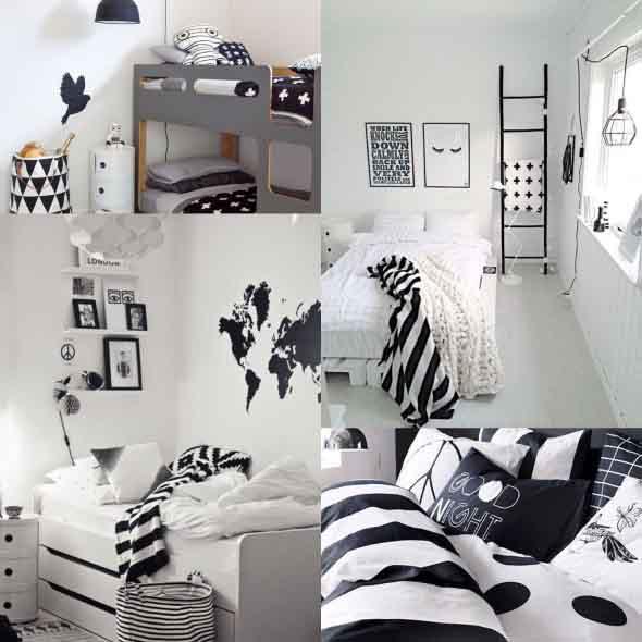 Decoração preto e branco no quarto 014