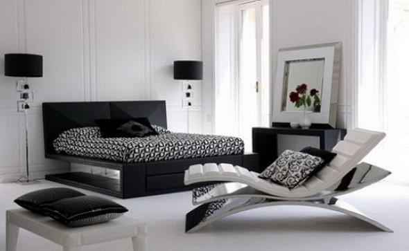 Decoração preto e branco no quarto 015