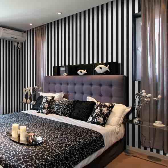 Decoração preto e branco no quarto 018