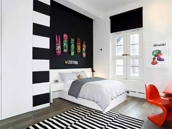 Decoração preto e branco no quarto 020