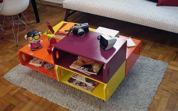 Mesas feitas com paletes e caixotes de feira 006