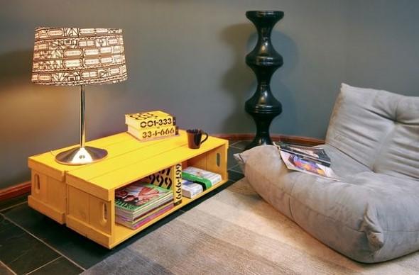 Mesas feitas com paletes e caixotes de feira 013