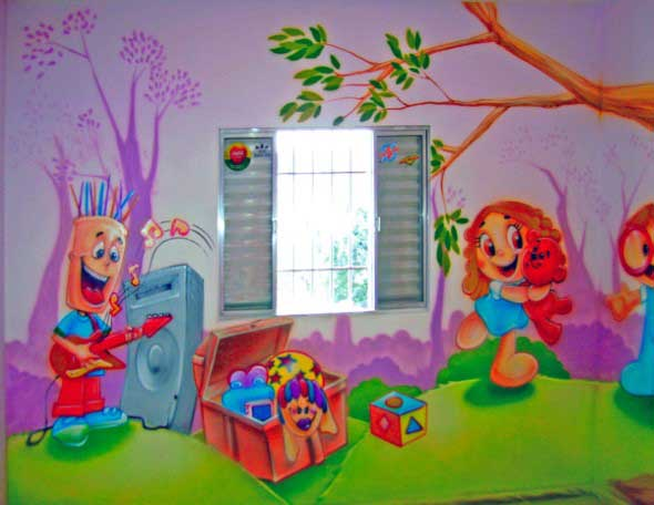 Pintura divertida no quarto das crianças 010
