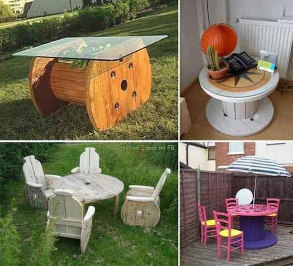 Bancos e mesas rústicas feitas de carretel de madeira 004