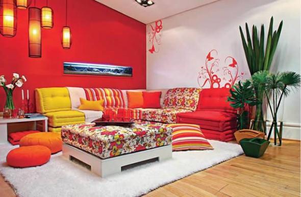 Decorar a sala de estar com um visual descontraído 004
