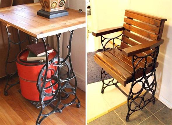 Mesa de máquina de costura antiga na decoração 008
