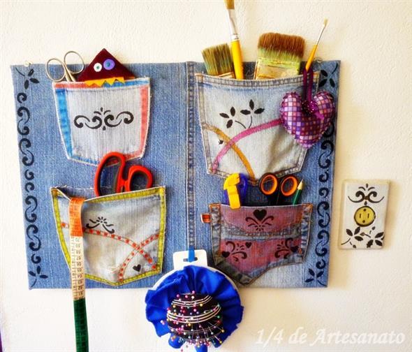 Painel organizador feito de jeans 009