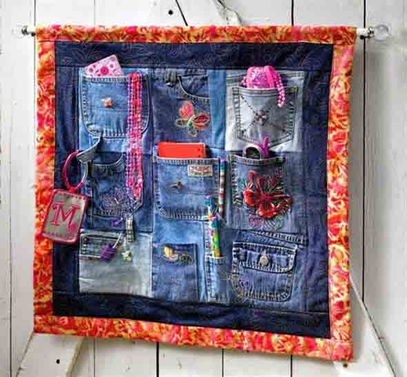 Painel organizador feito de jeans 010