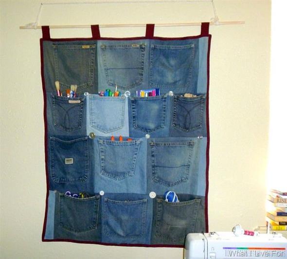 Painel organizador feito de jeans 013