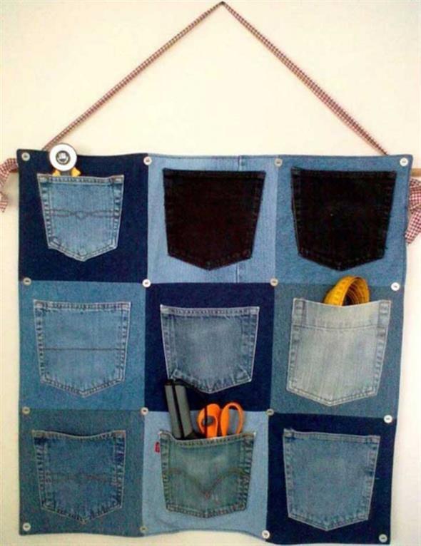 Painel organizador feito de jeans 014