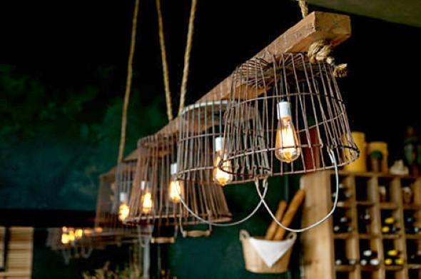 Luminária rústica artesanal 017