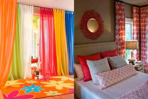 Cortinas coloridas na decoração 002