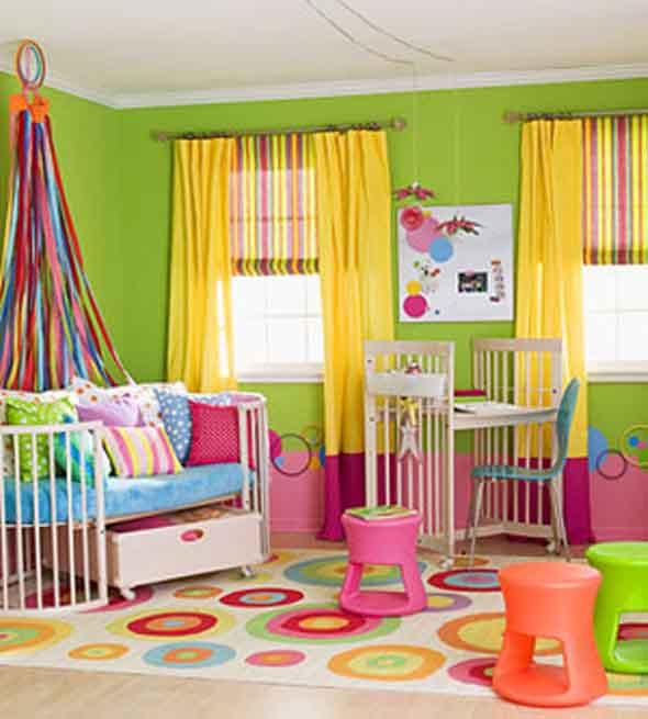 Cortinas coloridas na decoração 006
