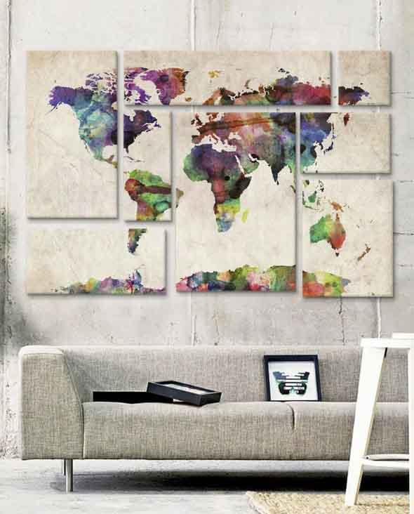 Mapa-múndi na decoração 003