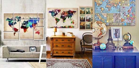 Mapa-múndi na decoração 004