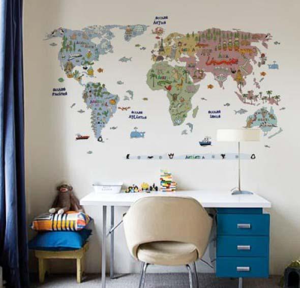 Mapa-múndi na decoração 006