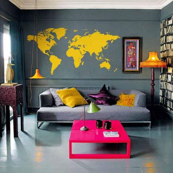 Mapa-múndi na decoração 007