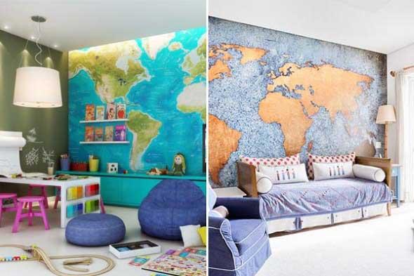 Mapa-múndi na decoração 009