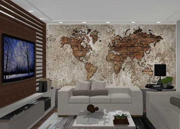 Mapa-múndi na decoração 014