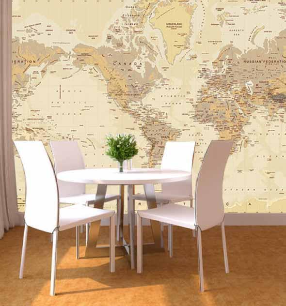 Mapa-múndi na decoração 017