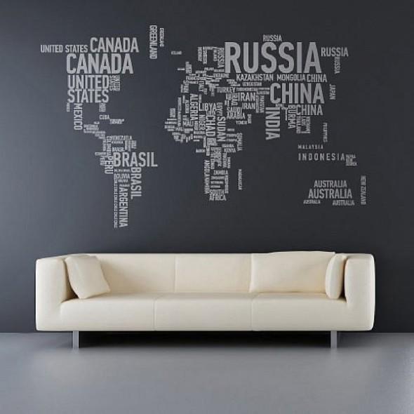 Mapa-múndi na decoração 018