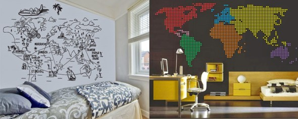 Mapa-múndi na decoração 021