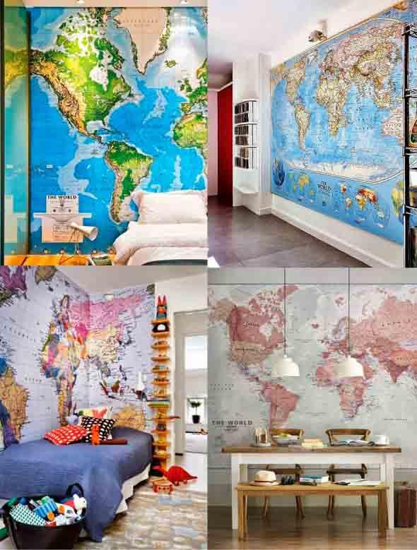 Mapa-múndi na decoração 023