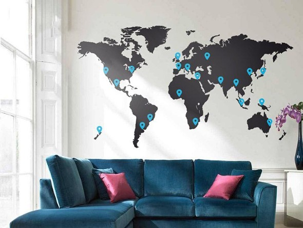 Mapa-múndi na decoração 024