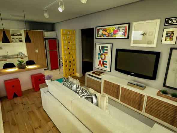Apartamento pequeno com ambientes integrados 024