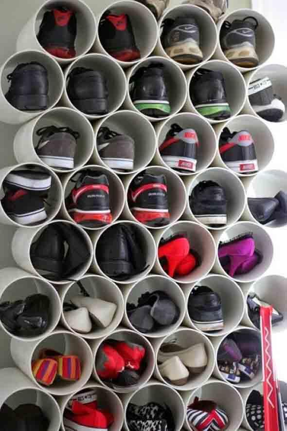 Ideias criativas para organizar e guardar sapatos 002