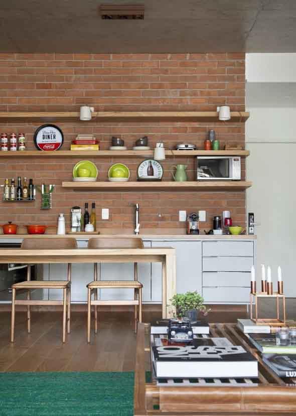 Prateleiras na decoração da cozinha 006