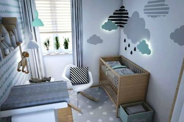 Quarto decorado com nuvens 001