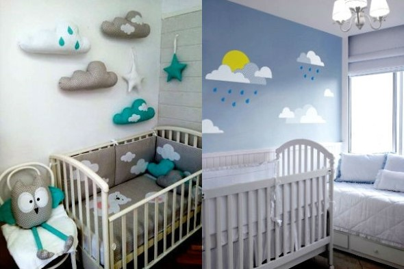 Quarto decorado com nuvens 004