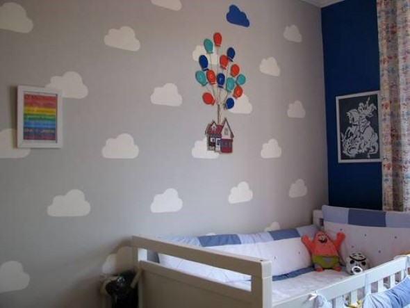 Quarto decorado com nuvens 015