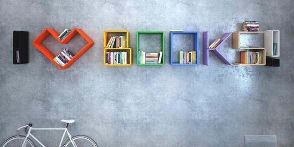 Prateleiras e estantes com formato de letras 009
