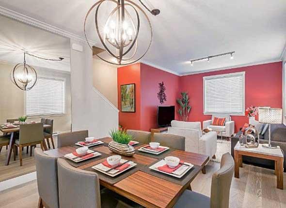Sala de jantar e estar integradas na decoração 005