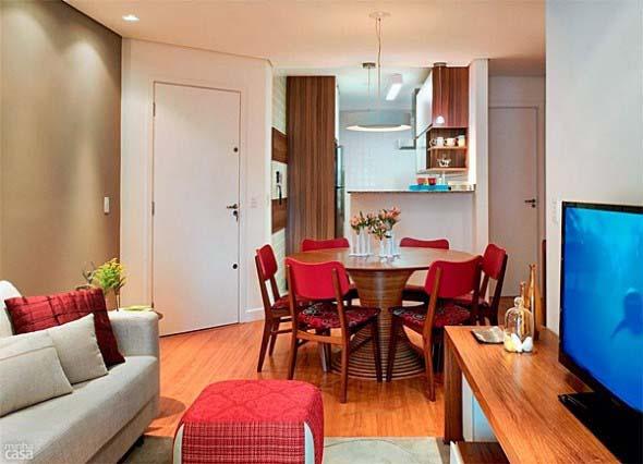 Sala de jantar e estar integradas na decoração 011