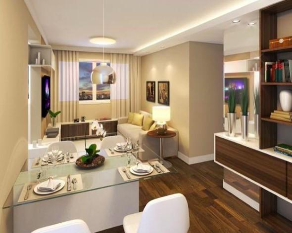 Sala de jantar e estar integradas na decoração 013