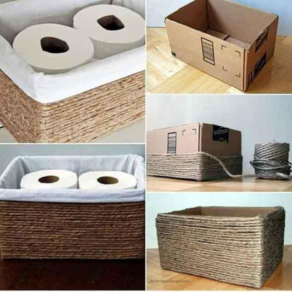 DIY - Caixas de papelão na decoração 003