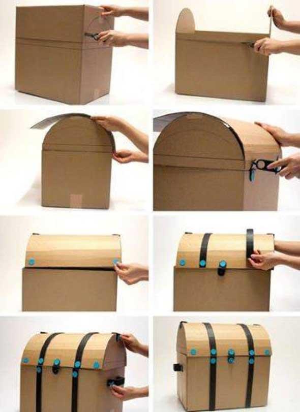 DIY - Caixas de papelão na decoração 014