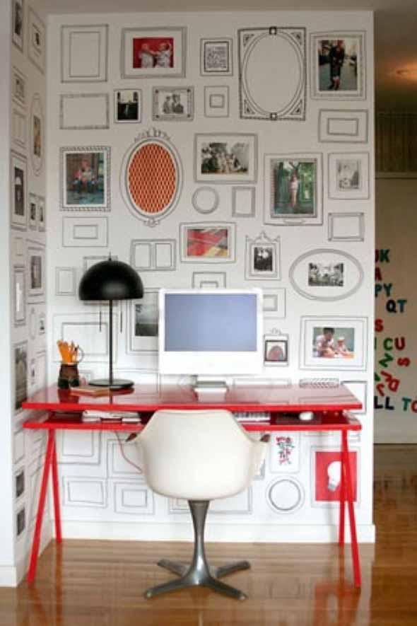 Ideias de decoração com paredes de molduras 009