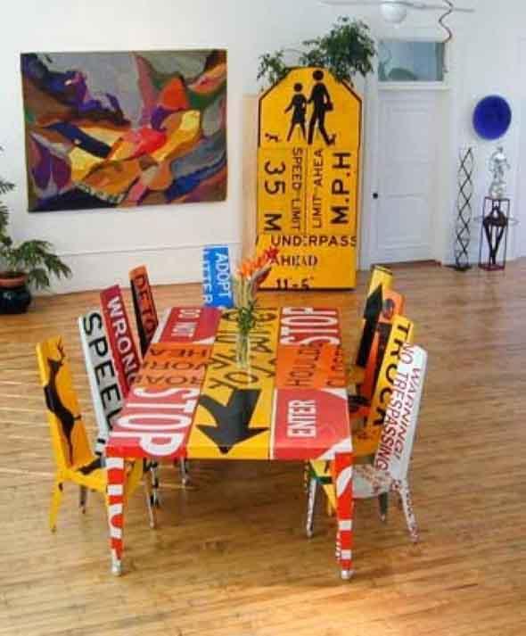 Placas de sinalização na decoração 004