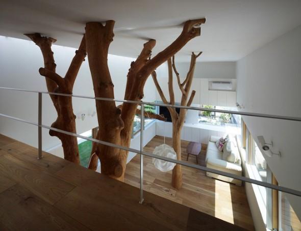 Troncos na decoração da sala de estar 012